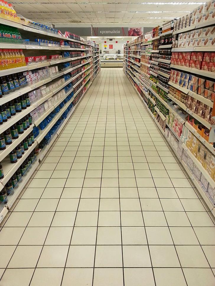 supermercat, buit, prestatges, l'abundància, Grècia, crisi financera, colla