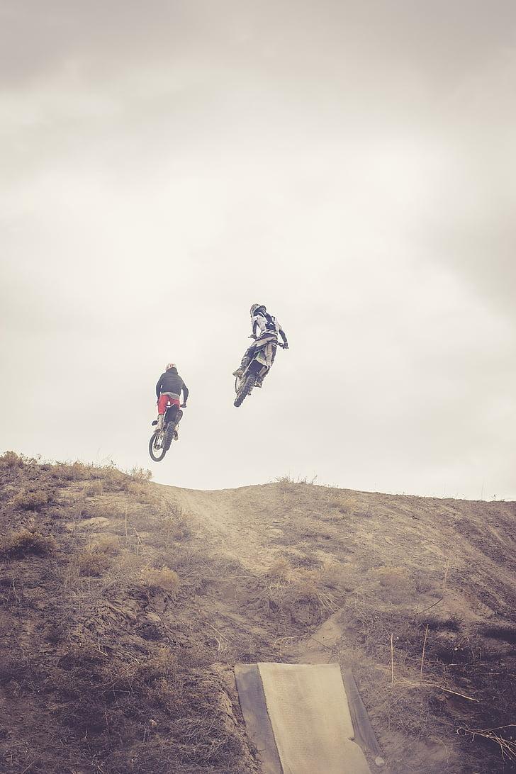 dirtbike, bicicletes de la brutícia, salt, Truc, estil, motocròs, amics