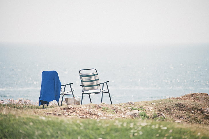 ocean, chairs, view, sky, clouds, landscape, grass