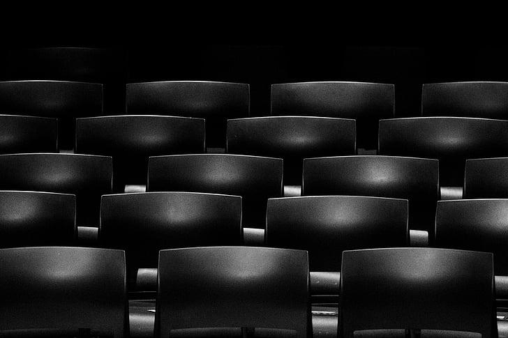 黒と白, 椅子, 行, 席
