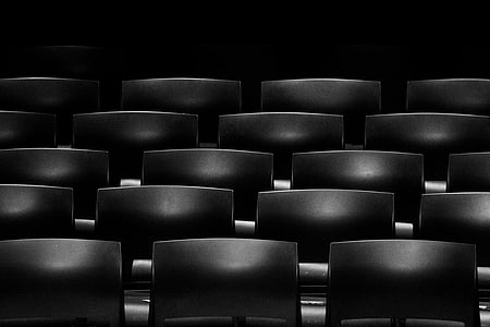 black-and-white, chairs, row, seats
