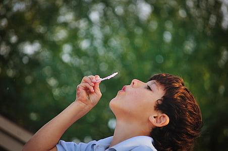 boy, child, person, cute, kid, happy, bubble