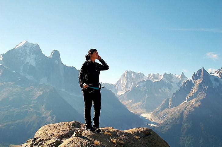 dom, Mountain, bjergbestigning, Top, sne, person, fylde