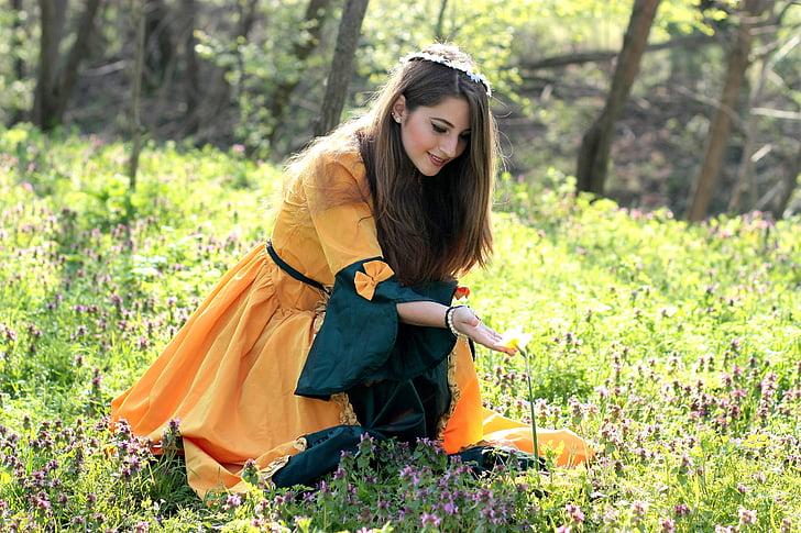 dekle, princesa, gozd, pomlad, zgodba, lepo, ženske