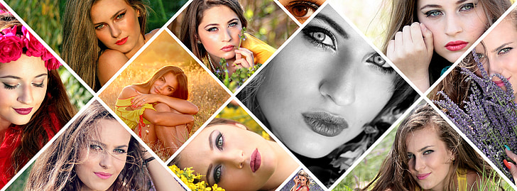 photo montage, girl, flowers, beauties