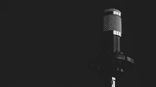 microphone, music, black, white, steel, black and white, audio