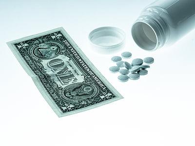 nauda, dolārs, medicīnas, uz veselību, tabletes, ASV dolārs, fondi
