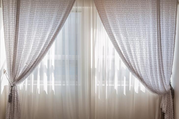 trong nhà, Rèm, cửa sổ, ấm cúng, bao gồm, ánh sáng, buổi sáng