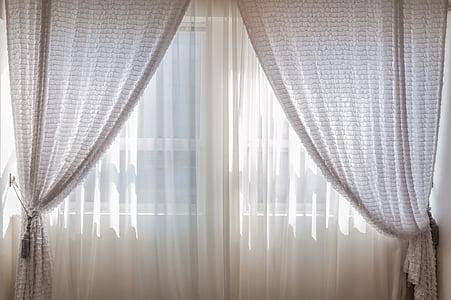ในร่ม, ผ้าม่าน, หน้าต่าง, โคซี่, มี, แสง, ตอนเช้า