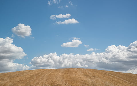 Hill, modrá obloha, oblaky, Sky, modrá, Príroda, Zelená