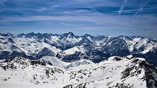 góry, pokryte, śnieg, w ciągu dnia, Chmura, Snow góry, szczyt górski