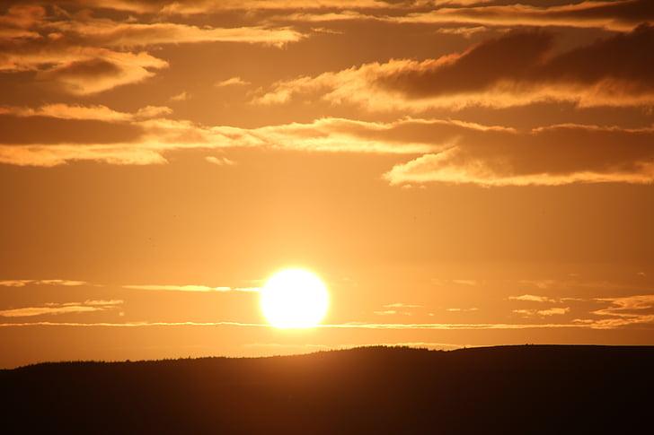 solen, abendstimmung, solnedgång, havet, Panorama, stranden, Sky