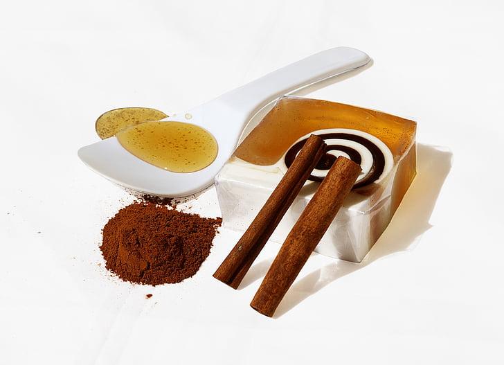 produkto, muilas, rankų darbo, Medus ir Cinamonas, kosmetikos, Cinamonas, maisto