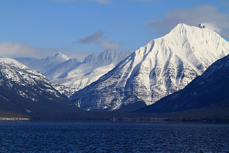 Lake mcdonald, Continental divide, Mountain, vatten, landskap, natursköna, naturen