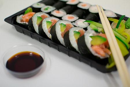 sushi, peix, escuradents, salsa, japonès, salmó, marisc