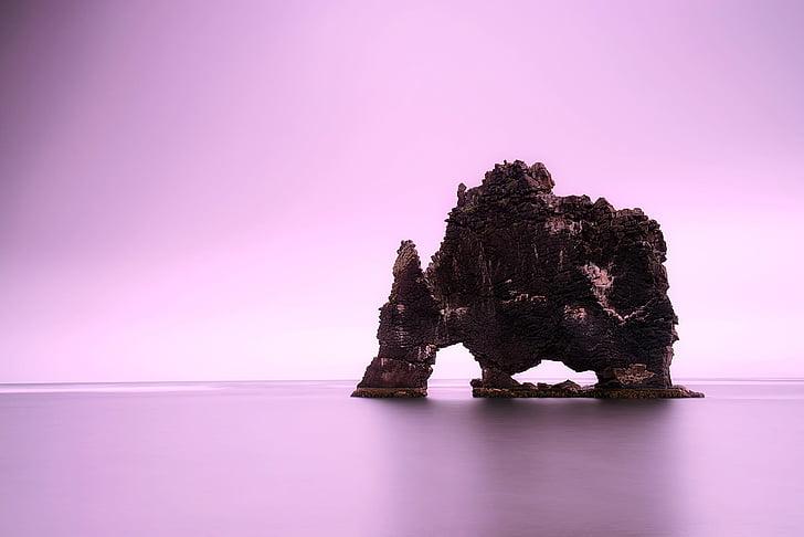 Islândia, rocha, formação, Crag, mar, oceano, água