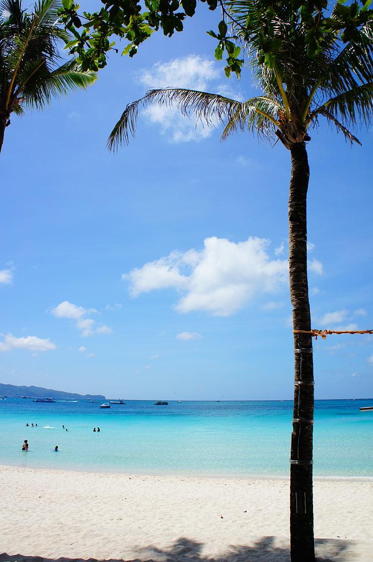 strand, Boracay beach, zee, zonsondergang