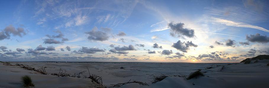 Закат, Панорама, Краеведческий музей Амрума, пляж, Вечер, Ваттовое море, Северное море