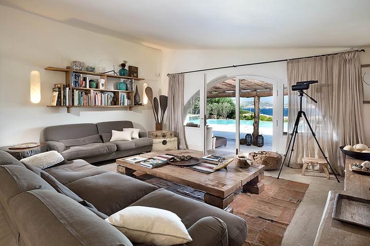 Phòng khách, gác xép, Sardinia, thư giãn, mùa hè, trong nhà, Trang chủ nội thất