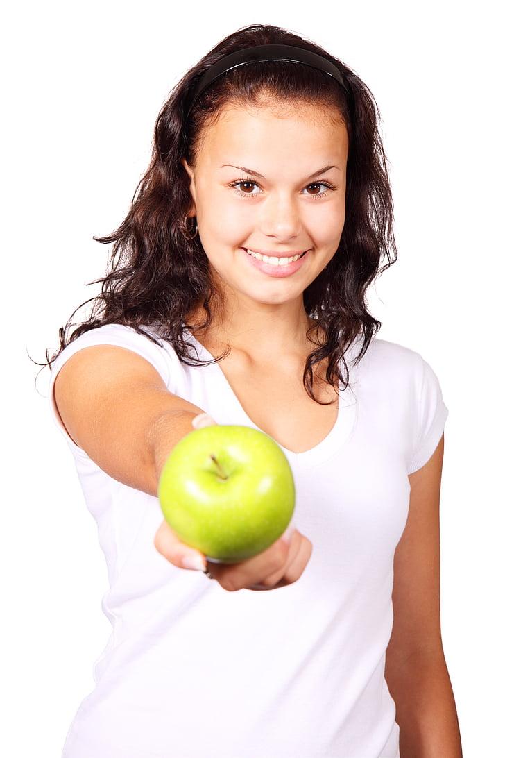 apple, diet, female, finger, food, fruit, girl