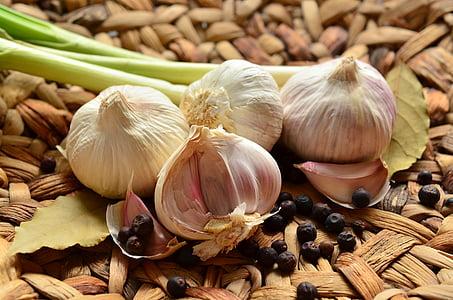 czosnek, bulwy, zioło, zapach, zdrowe, aromatyczne, jedzenie