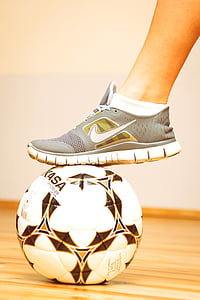 ball, sneakers, football, leg