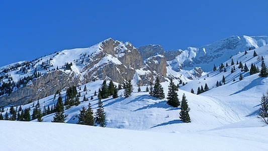 landscape, nature, winter, mountain, alps, snowy mountain, hiking