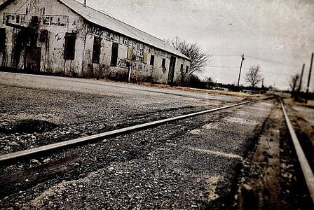 train, tracks, building, transportation, railway, railroad, transport