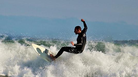 surfeur, planche de surf, sports nautiques, mer, océan, eau, mousse