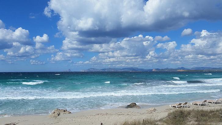 núvols, Mar, platja, Costa, sorra, natura, l'estiu