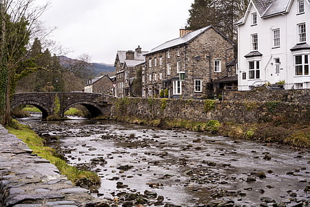 wales, river, bridge, outdoors, water, uk, architecture