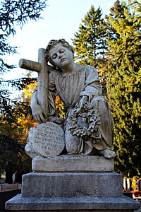 grav, skulptur, kirkegård, sorg, gravsten, sten, antik