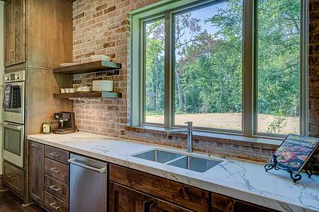 keuken, wastafel, High-end, interieur, binnenshuis, moderne, huis