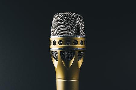 аудіо, класичний, золото, метал, мікрофон, мікрофон, запис звуку