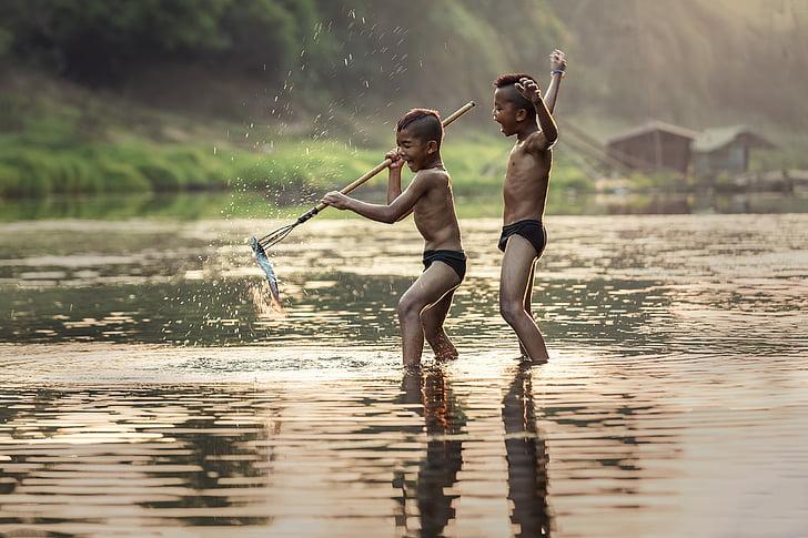 Рыбалка, как дети, деятельность, Азия, мальчики, Камбоджа, Ручки