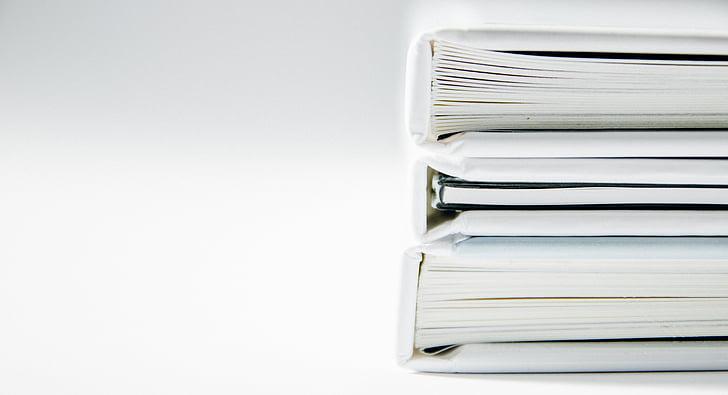 tre, högen, vit, Inbunden, böcker, bok, papper