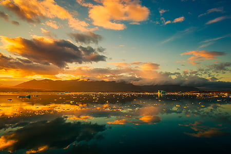 iceland, sky, clouds, beautiful, sunrise, sunset, fjord