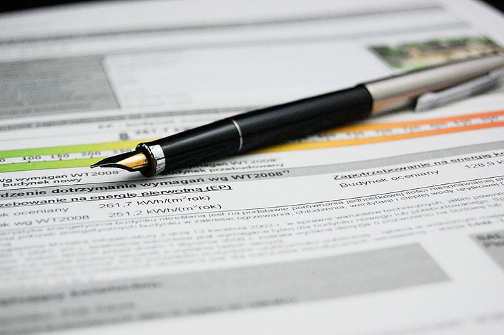 pero, dokument, energetska izkaznica, Sporazum, dokumentov, znak, poslovni