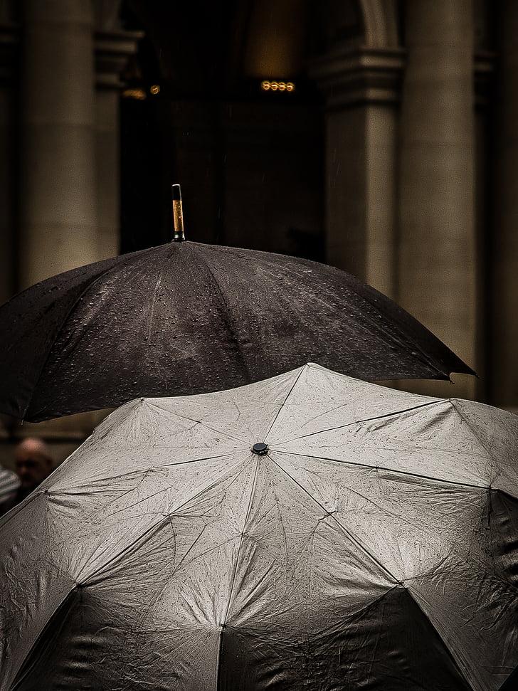 black, umbrella, water, drops, raining, outside, rain