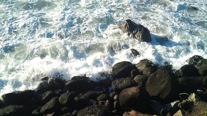platja, oceà, núvols, cel, Costa, sorra, sol