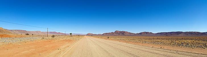 Àfrica, Namíbia, desert, paisatge, muntanyes Tiras, carretera, àrid