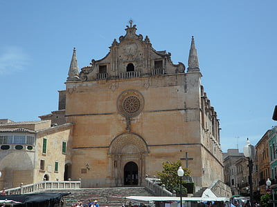 mallorca, felanitx, spain, church, imposing, front, architecture