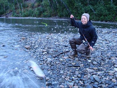 pesca, Alaska, salmó, natura, peix, noia, dona