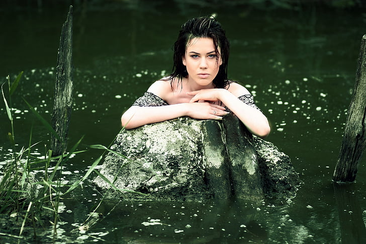 girl, water, wild, vegetation, nice, sensual, one woman only