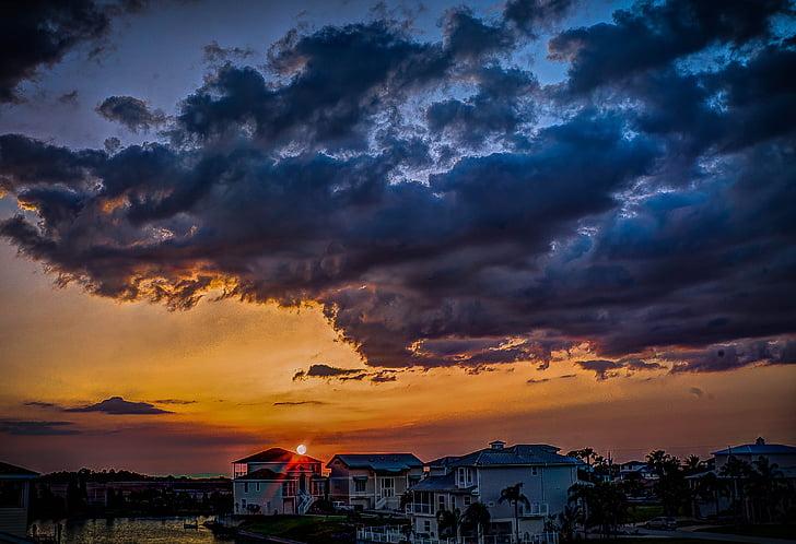 Florida, núvols de tempesta, llum, cel, núvols, posta de sol, tempesta