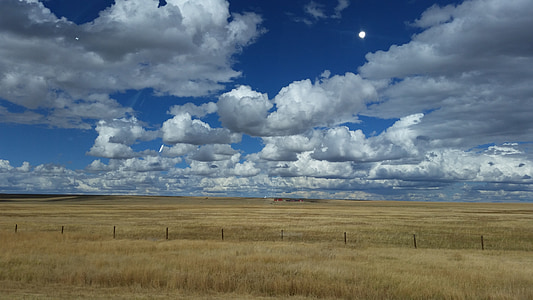 sky, prairie, landscape, clouds, scenery, skies, summer