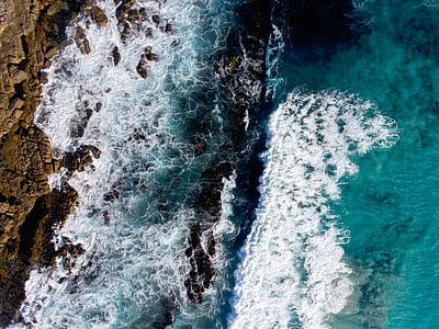 natura, l'aigua, que s'estavella, ones, oceà, blau, Mar