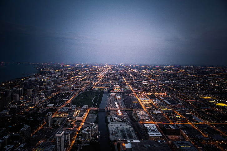 aerial shot, aerial view, buildings, city, city lights, cityscape, dawn