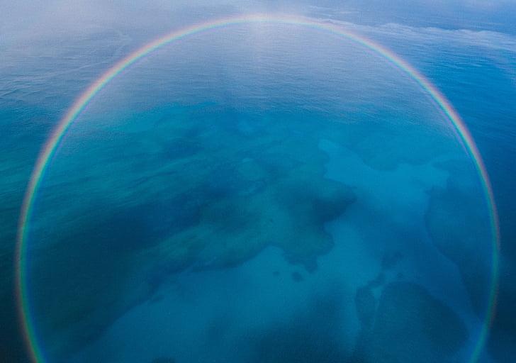 blue, aerial, view, island, rainbow, nature, sea
