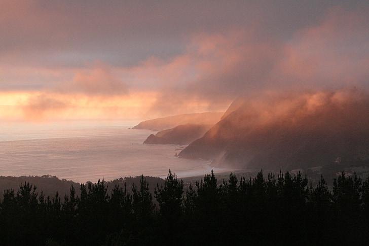 platja, paisatge, natura, Mar, paisatge litoral, calma, posta de sol